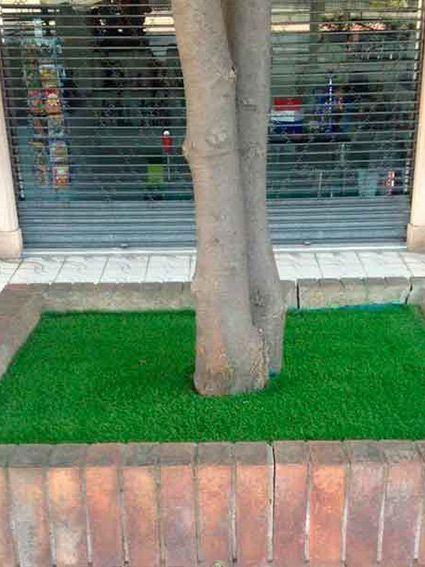 nuestro cesped artificial en jardineras