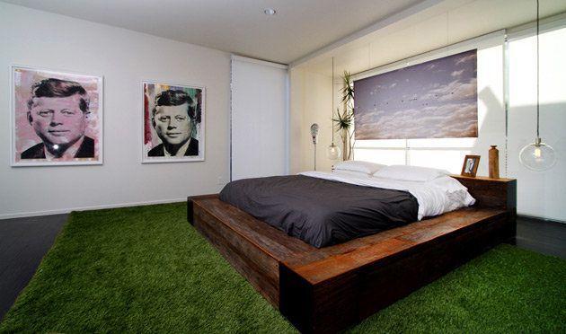 cesped artificial y habitación