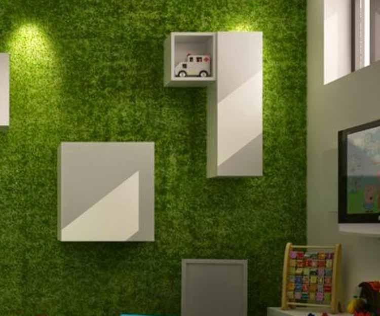 jardin vertical cesped artificial instalación en una pared